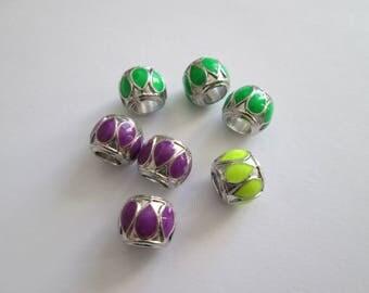 7 perles émail sur métal argenté 12 x 9 mm trou 5 mm