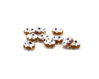 15 silver-plated stass orange 6 mm rondelles