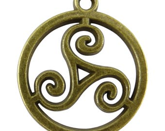 4 charms Triskel bc218 bronze colored metal