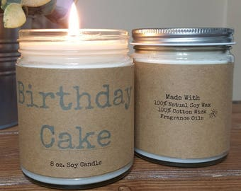 Birthday Cake Soy Candle, personalized candle, Birthday Gift, Gifts for Her, Spa candle, relaxing candle, 8 oz soy candle gifts