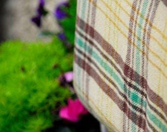 Vintage Welsh Plaid Blanket, Yellow Plaid Welsh Blanket, Traditional Welsh Blanket, Yellow, Brown and Green Blanket, Welsh Wool Mill Blanket