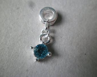 x 1 in round Rhinestone Charm silver 25 x 8 mm blue color