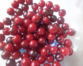 x 10 spacer beads acrylic red and grey 10 mm