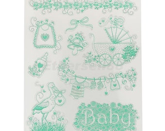 x 1 Board of clear stamps stamps clear Baby theme silicone 18 x 14 cm