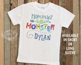 Mommy's Little Monster Kids Name Kids Shirt in Blue, Personalized Kids Tee, Customized Shirt, Funny Kids Shirt, Boy Name Tee - T299M