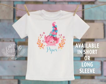 Pink Troll Kids Name Shirt, Personalized Kids Tee, Customized Kids Shirt, Cute Kids Shirt, Funny Girls Tee, Girl Name Tee - T308P