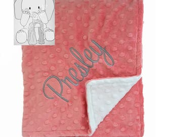 Coral Pink and Snow White Personalized Minky Blanket, Custom Minky Blanket, Personalized Baby Blanket, Baby Girl Minky Blanket, Baby Gift
