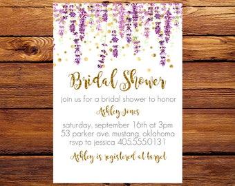 Lavender Bridal Shower Invitation, Bridal Shower Invite, Lavender invitation