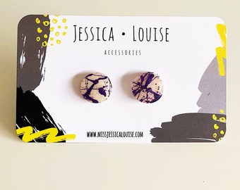 Purple and White Paint Spattered Clay Studs / Purple and White Studs / Handmade Earrings / Resin Paint Spatter Studs