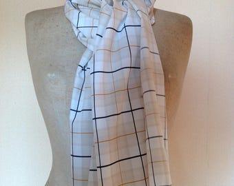 Cheich, écharpe, étole, foulard en coton, jeu de lignes et carreaux.