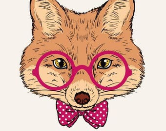 Transfer Fox with glasses and bow tie head
