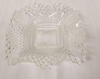 Diamond cut glass candy dish