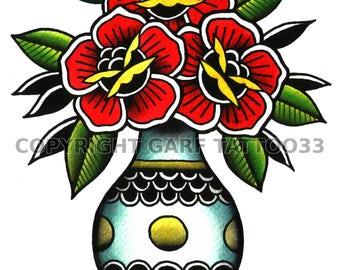Traditional vase tattoo art