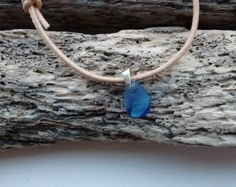 blue striped sea glass bracelet