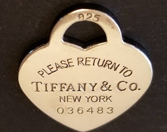 Vintage, Please Return to Tiffany & Co. New York, Necklace Heart Pendant .925 Sterling Silver