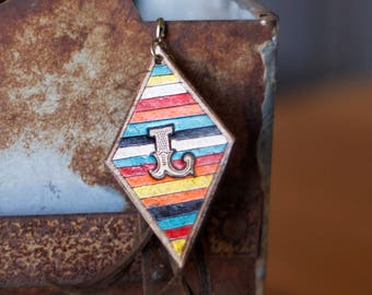 Serape Diamond Keychain with Fringe | Leather Keyring | Birthday Gift | Gifts for Him | Gifts under 15 | Handmade | Gifts for Her