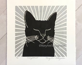 Cat Print, Black Cat Print, Cat Art Print, Black Cat Art Print, Cat Linocut Print, Cat Lino Cut Print, Cat Memorial Art, Cat Memorial Print