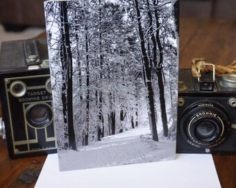 Black and White Winter Walk Greeting Card