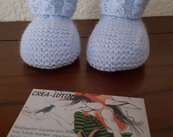 Blue knitted baby Wool Slipper Socks in size 3 months