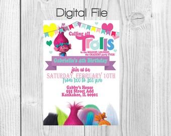 Trolls Birthday Party Invitation (Digital File)