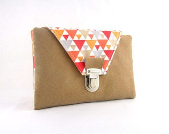 Fabric and camel suede wallet geometric pattern