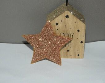 "Badge ""Star"" bronze glitter"