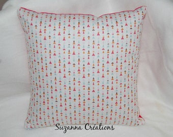 Colorful triangles and fuchsia pillow cover