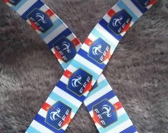 102 - Ribbon soccer - France - grosgrain - 22 mm sold by 50 CM - Soccer ribbon