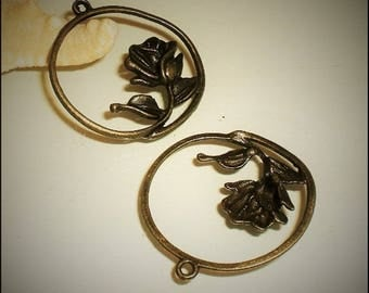 """2 pendants charms """"Ring and Rose"""" 36 x 34 mm antique Bronze Metal"""