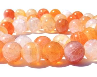 8 agates veines de dragons de 8 mm perle pierre orange et blanche.