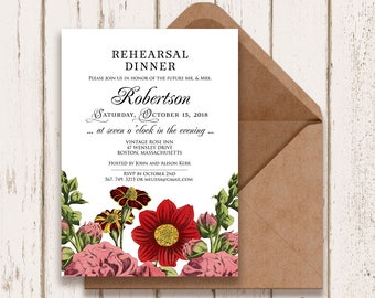 Rehearsal Dinner Invitation Garden Wedding Printable Invite Dahlia, Hollyhock, French-Marygold Floral Wedding Invitation Template Editable