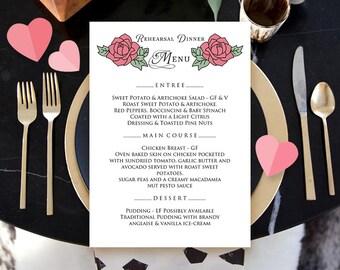 Rose Menu Rehearsal Dinner Printable Menu Valentines Menu Template Rustic Wedding Menu Card Floral Menu Editable Menu Download Digital Menu