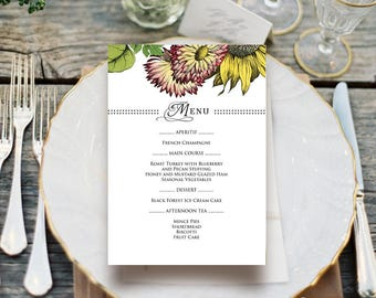 Printable Menu Card Template Garden Dinner Floral Menu Fall/Autumn Flowers Sunflower & Gerbera Rustic Menu for Wedding Bridal Shower Party