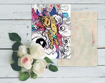 Instant Download Art Postcard, Love, Bunny, Cartoon, Fantasy art, Valentine's Day Gifts