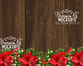 Styled Stock Photography - wood, poinsettia, empty background image, stock photo, christmas - INSTANT DOWNLOAD