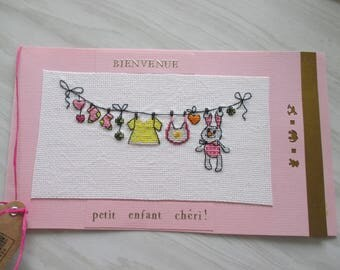 Birth card custom embroidered for girl