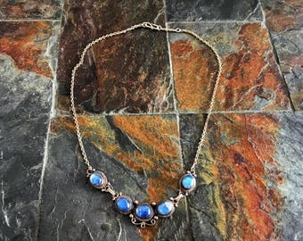 Necklace in silver and blue moon stones