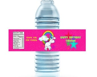 Birthday Unicorn Water Bottle Labels | Custom Water Bottle Labels | Personalized Water Bottle Labels | Birthday Party Favors | Digital |