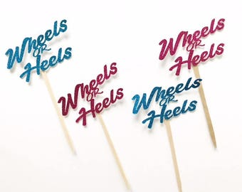 Wheels or Heels Cupcake Toppers - Gender Reveal- Decor - Gender Reveal Favor -  Boy or Girl Toppers - Sex Reveal Party - He or she