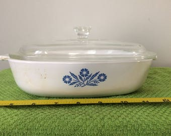 Vintage Corning Ware Casserole Dish P-9-B w/ Lid, Blue Cornflower Pattern, 9 Inch, Cornflower Blue CorningWare Covered Baking Dish, Like New