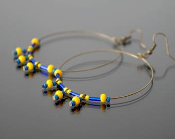 Large hoop earrings yellow and blue