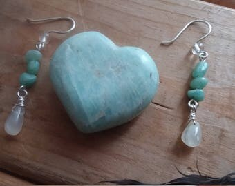 Amazonite and Moonstone Earrings Gifts For Women Valentine's Day Everyday Jewelry