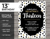 13th Birthday Invitation,...