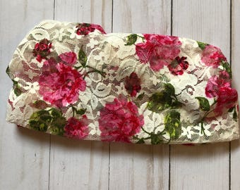 Raw edge lace floral