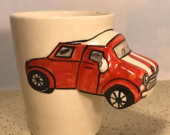 VINTAGE AUTOMOBILE MUG classic red car embossed automobilia white red cup glass collectible limited edition