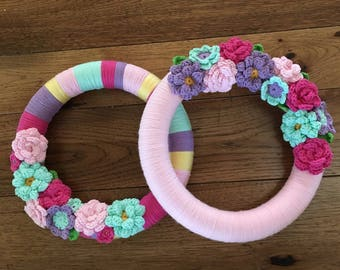 Yarn wrapped wreath with crochet flowers-available in solid or striped