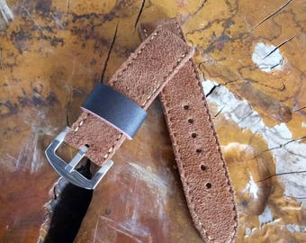 Handcrafted Brown SUEDE Cowhide Leather Watch Strap/Band
