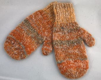 Wool and mohair striped mittens