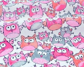 Fabric American Poplin silky gray pink OWL x 50cm