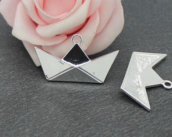 x 2 pendants or charms boat origami metal silver 31 x 18 mm BR673